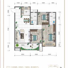 紅太陽花園A1+三室兩廳兩衛戶型圖