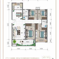 紅太陽花園A2四室兩廳兩衛戶型圖