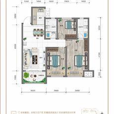 紅太陽花園A3三室兩廳兩衛戶型圖