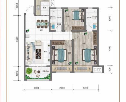 紅太陽花園A3三室兩廳兩衛