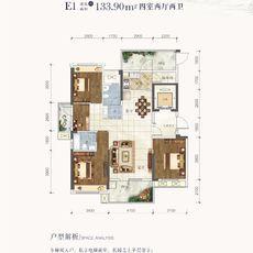 鹏成·清华府1#、3#楼E1户型户型图