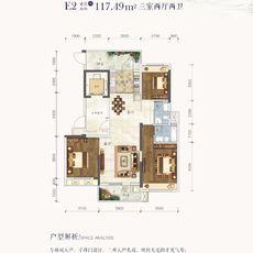 鹏成·清华府1#、3#楼E2户型户型图