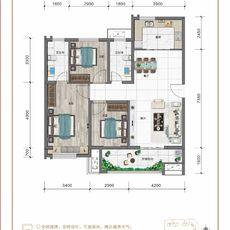 紅太陽花園A1三室兩廳兩衛戶型圖